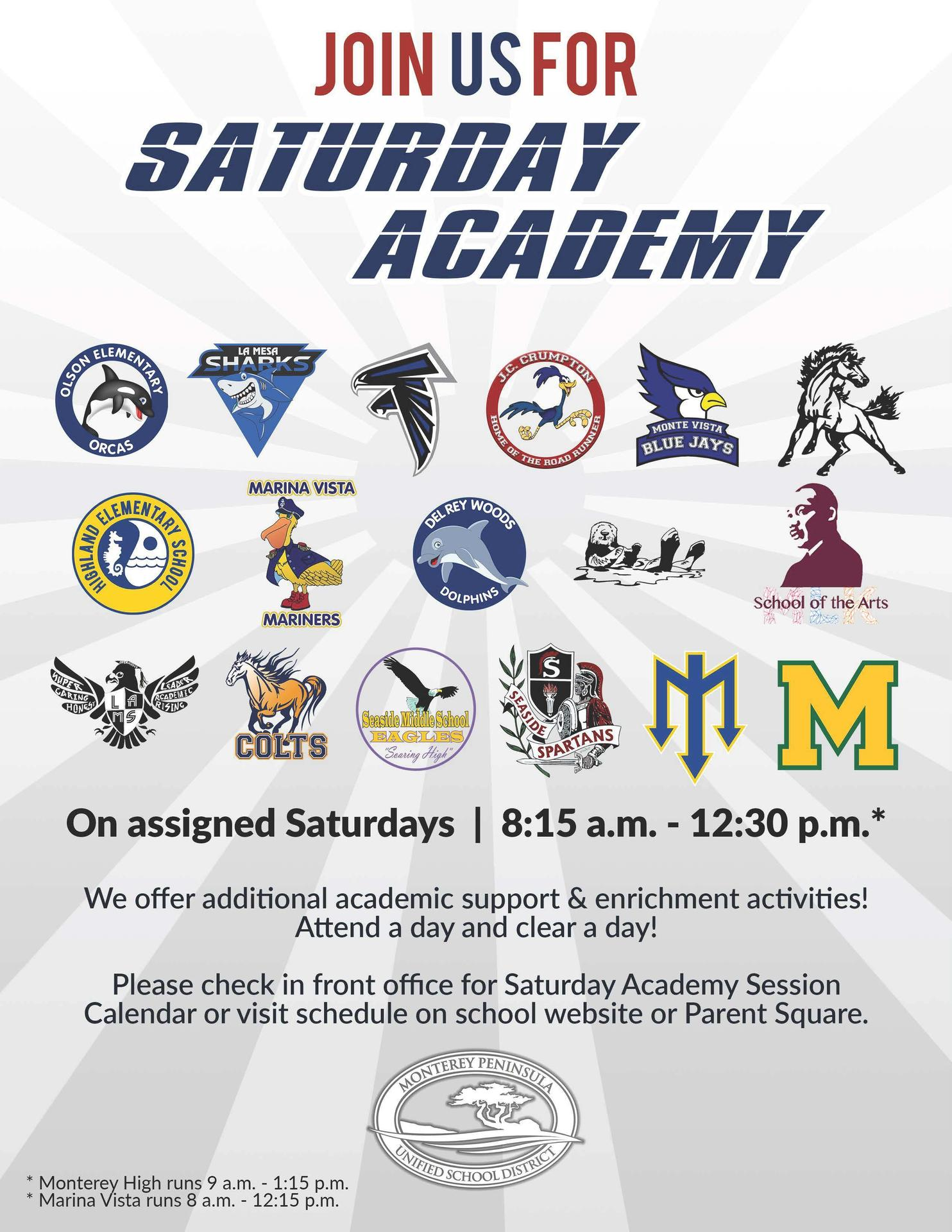 English Version of Saturday Academy Flyer