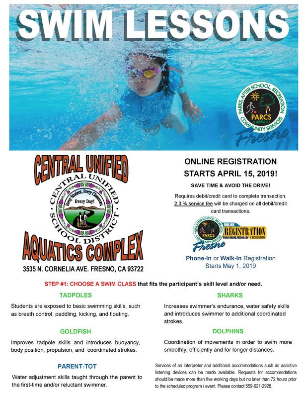 Central Unified Swim Lessons Flyer
