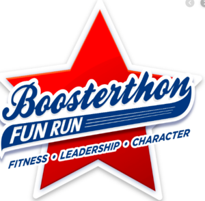 red star with the word Boosterthon written across