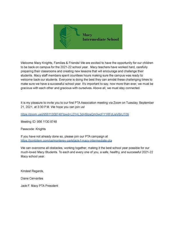 PTA Welcome Meeting Flyer