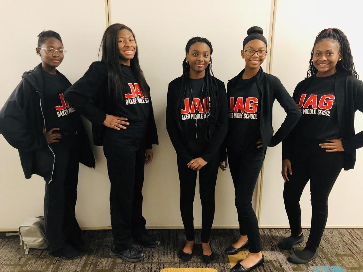 Baker High School JAG Officers (Left to right) Montrell Bell, Kahlia Bell, Adriana Allen, Rachel Dugas