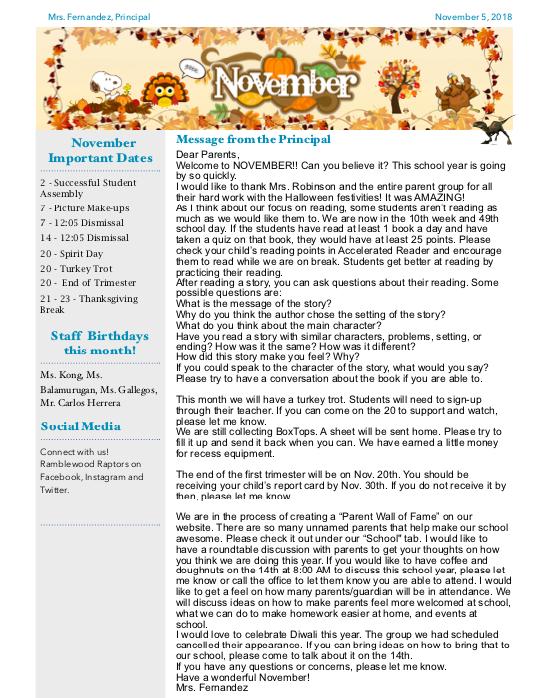 November Newsletter screen shot