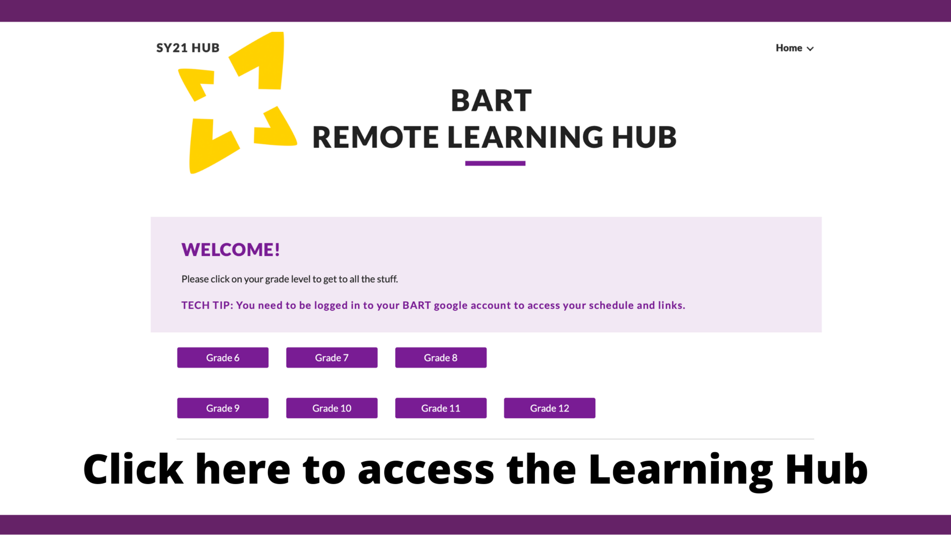 a screen shot of BART's remote learning hub