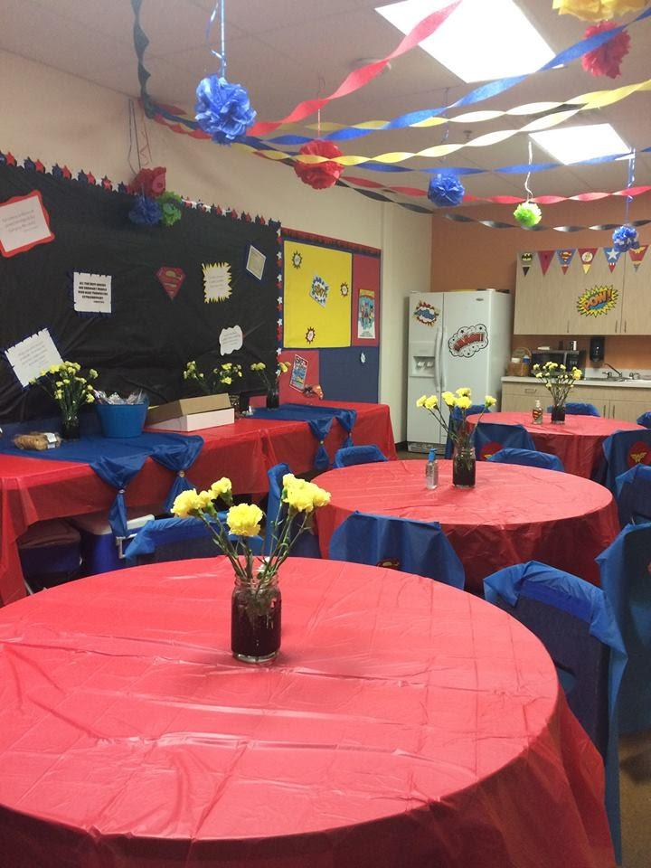 Parents dress up the teachers' lounge to show appreciation