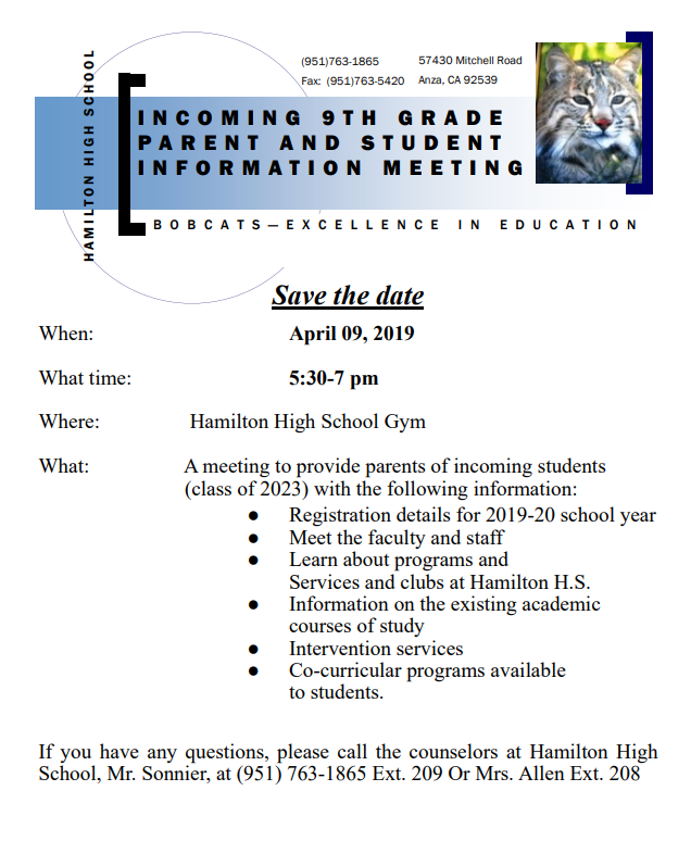 Hamilton High School Family Orientation for incoming 9th Graders on April 9th.