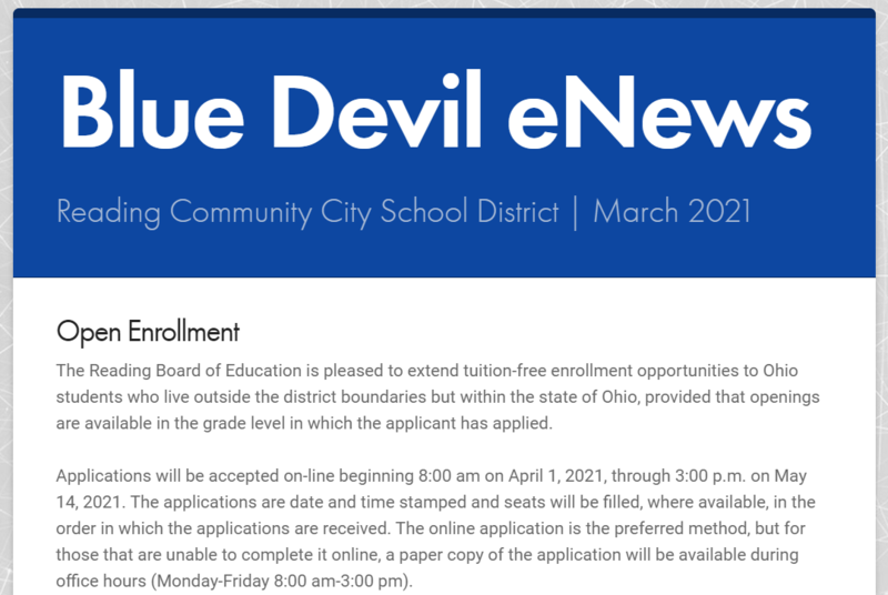 Front Cover of March Blue Devil eNews