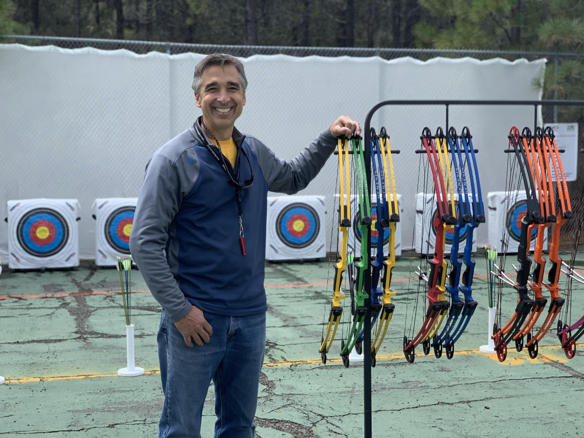 Mr. Valle with compound bows