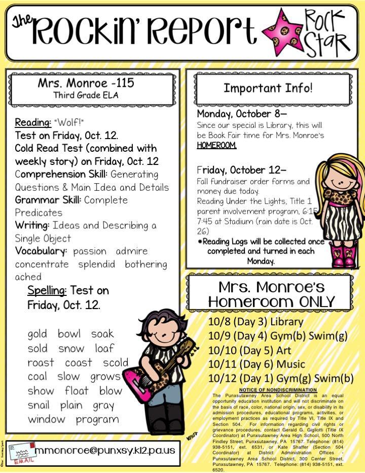 Newsletters – Megan Monroe – Punxsutawney Area School District