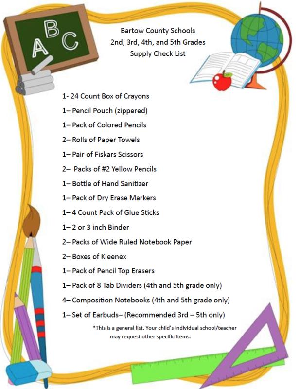 School supply lists for kindergarten and up.