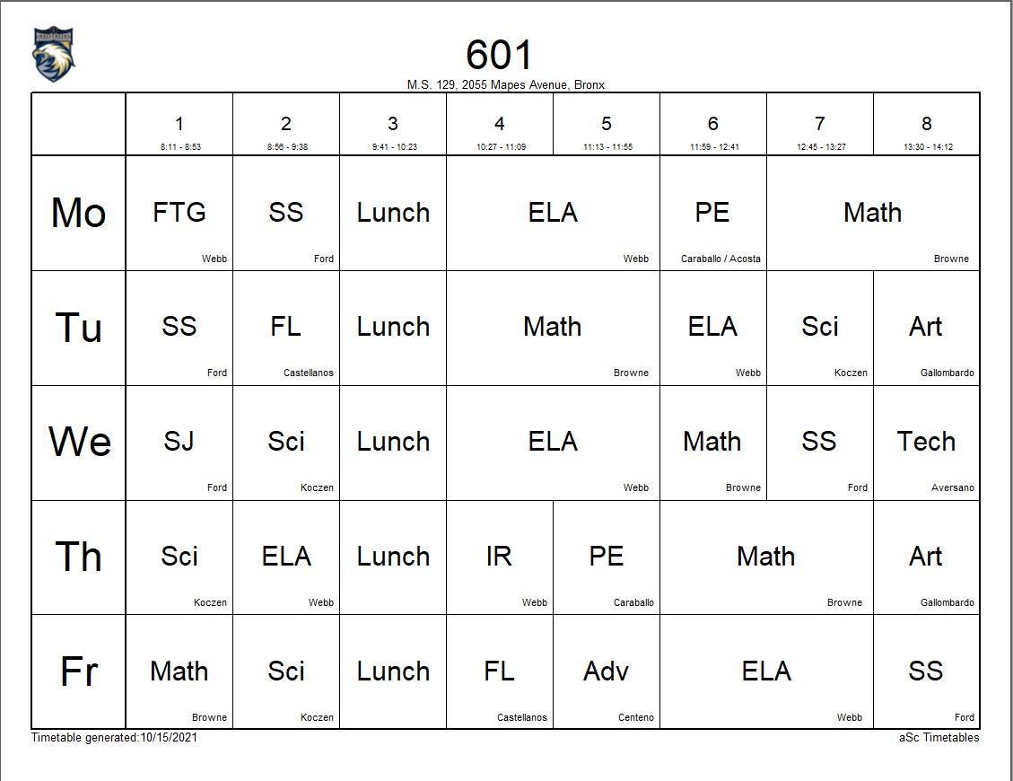 601 class schedule