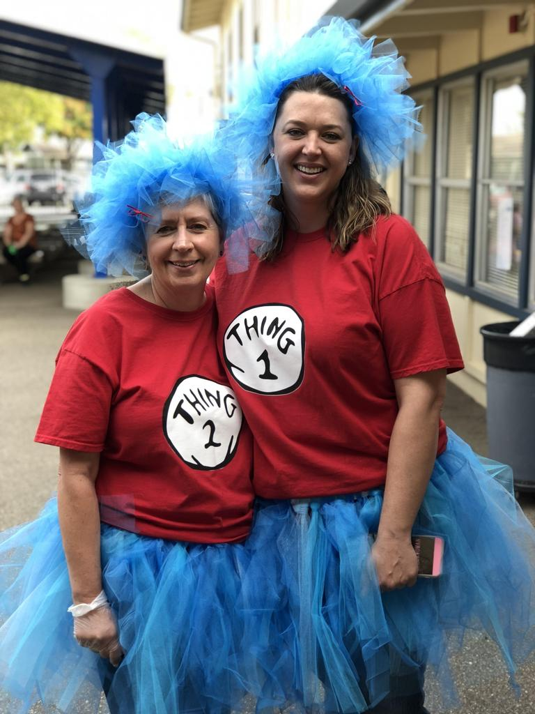 Miss Kirmeyer & Miss Tompkins dressed up as Thing 1 and Thing 2 during our Fall Carnival