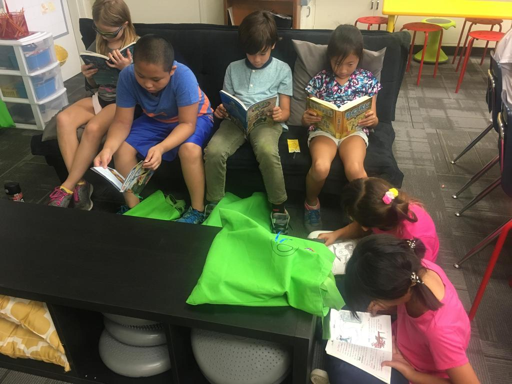 Six students reading