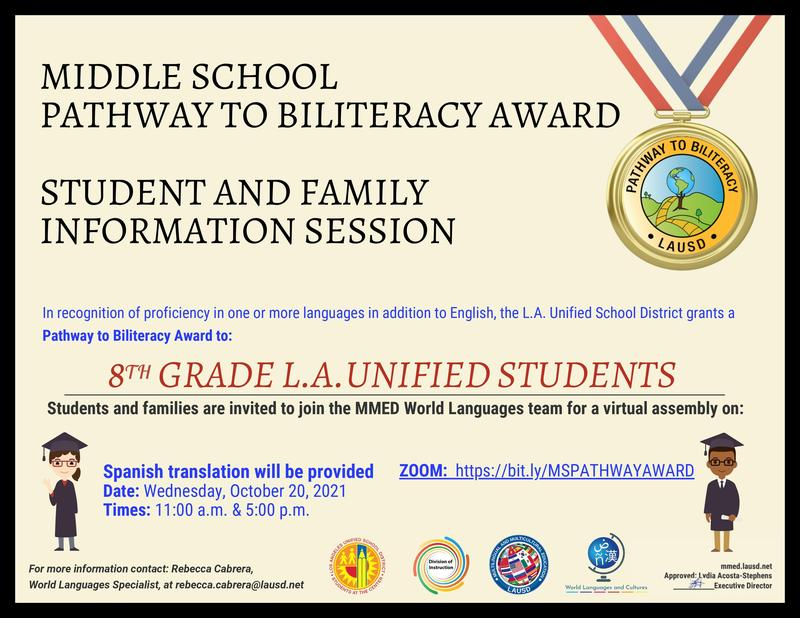 Middle School Pathway to Biliteracy Award Featured Photo