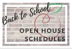 Back to School Open House Schedules
