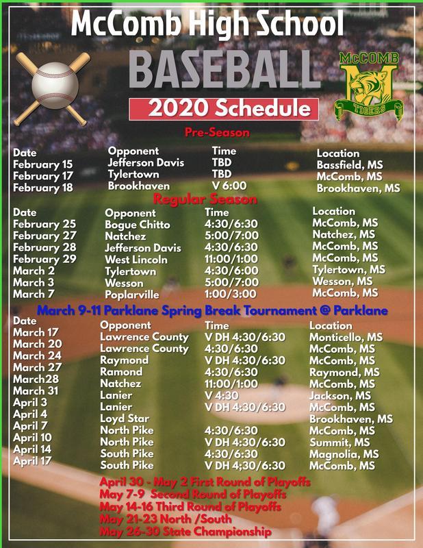 McComb High School Baseball Schedule 2020  #ItsComeBackTime