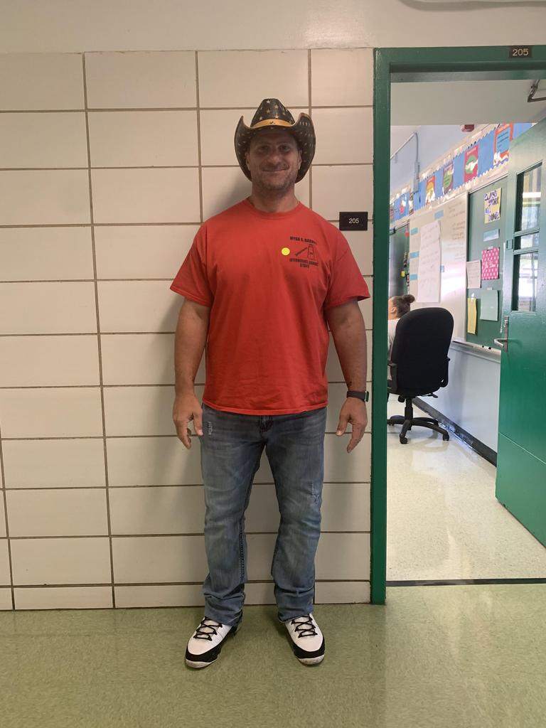 Teachers participating in Hat Day