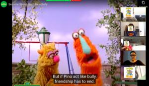 Sesame Street scene with caption