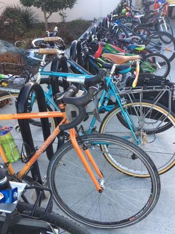 Row of bikes outside AES