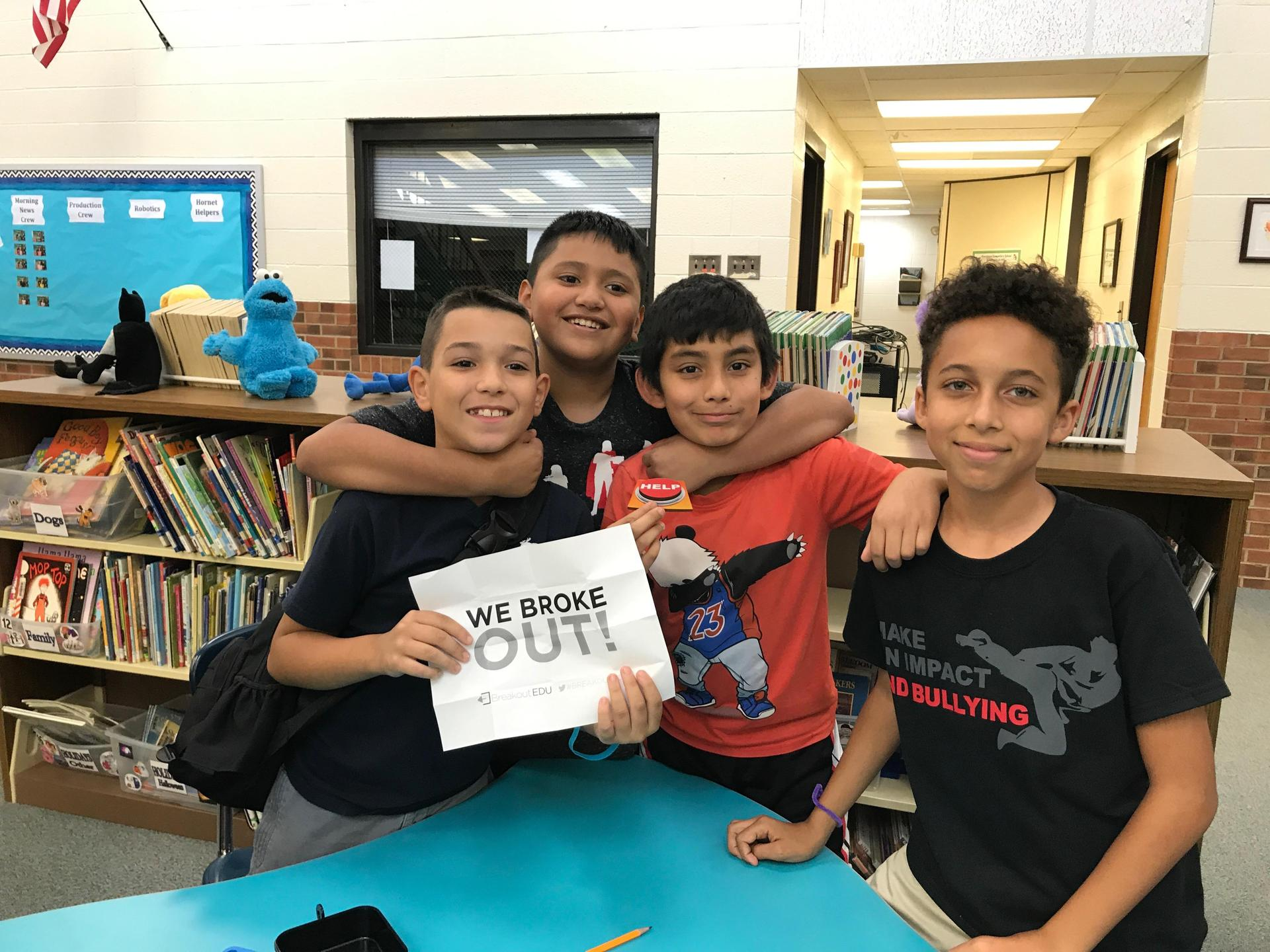 Image of students who broke out of breakout box