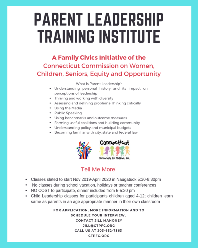 Parent /Child Leadership Training Institute this November. This 20 week opportunity helps parents that want to be involved a great sense of leadership, civic involvement and many opportunities to sit of Board of Directors, run for local and state office and to make Naugatuck better than it was yesterday. Children of participants aged 4-12 can also attend classes and learn the same curriculum in an age appropriate program.