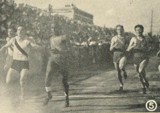 End of the 110 yard dash in the Roosevelt Meet, 1932
