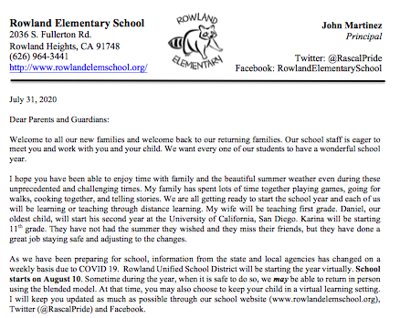 Welcome Back Parent Letter and Information Featured Photo
