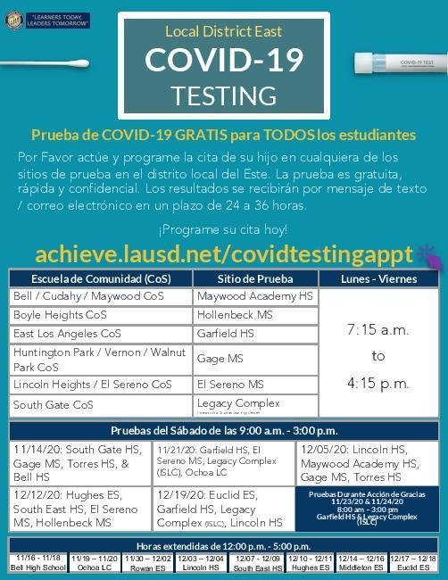 FREE COVID19 Testing For All Students! Featured Photo