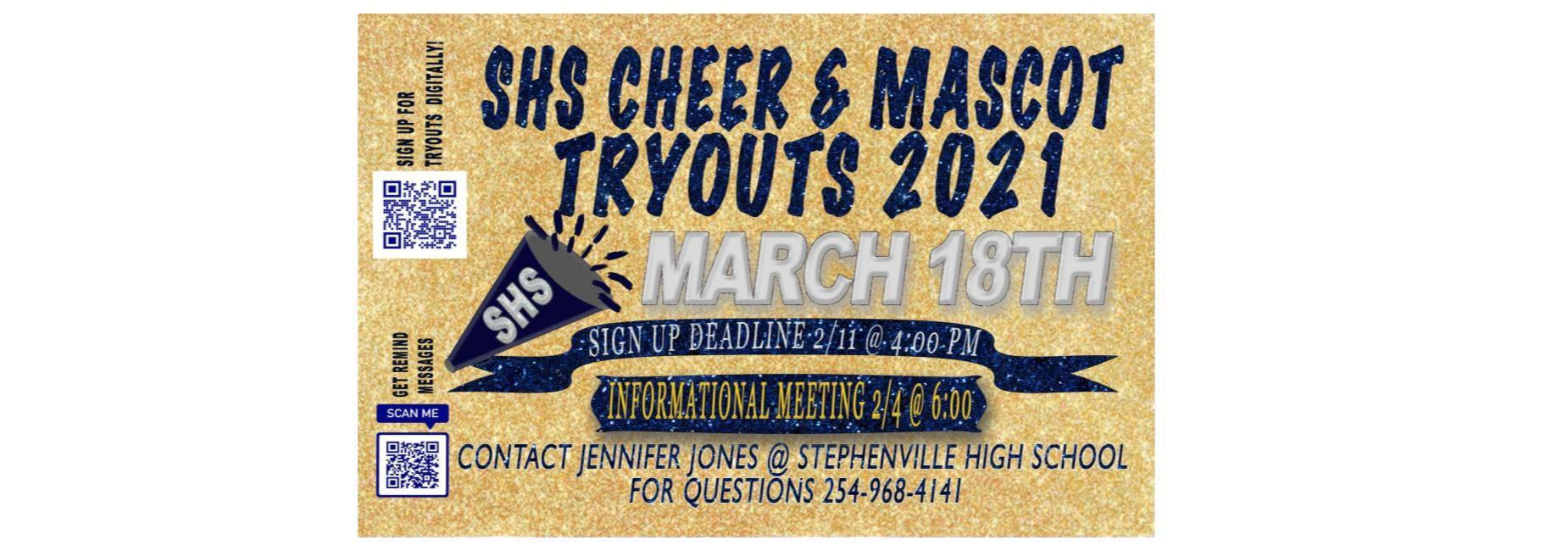 Cheer and mascot tryouts information. See news article below for more information.