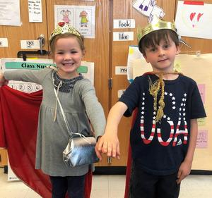 Photo of two Lincoln School kindergartners dressed up in class.