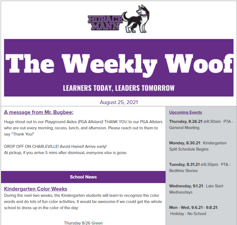 The Weekly Woof Newsletter for 8-25-21
