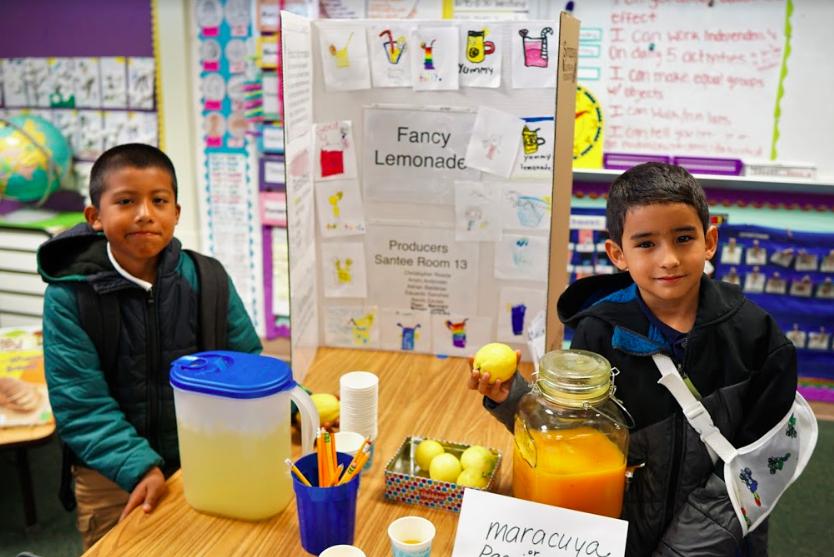 two students show fancy lemonade ingredients
