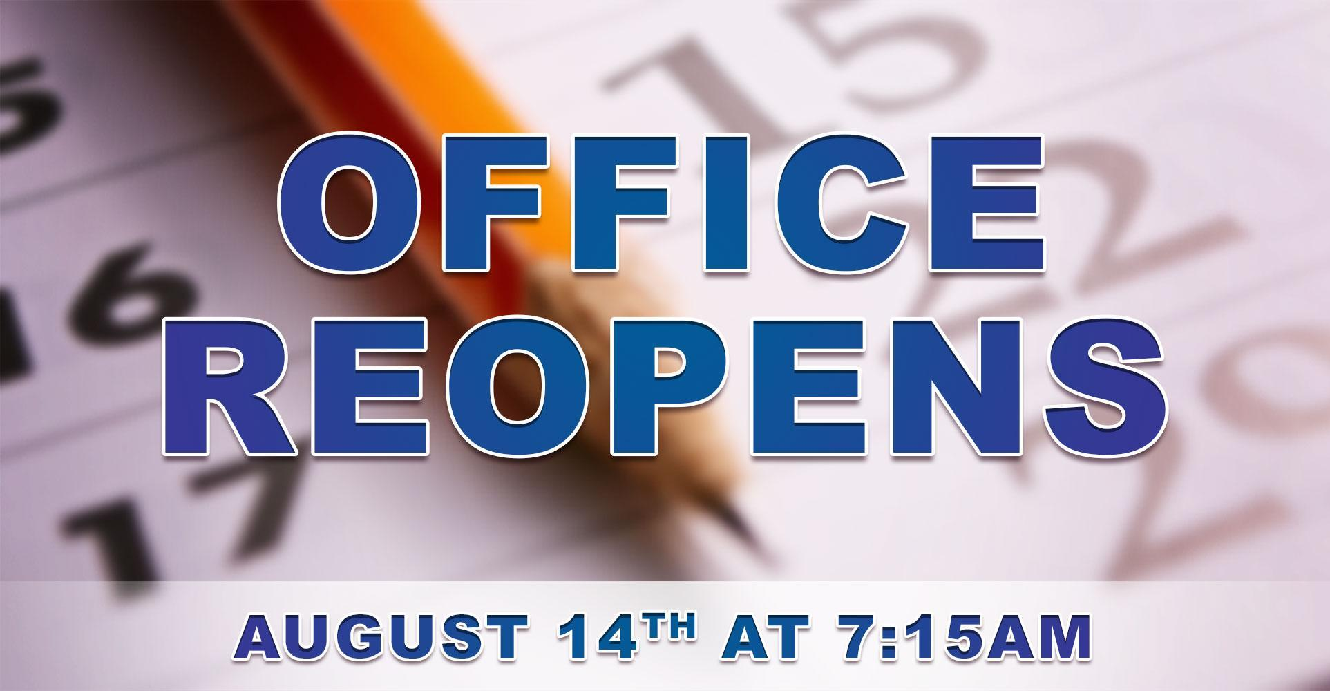 Fairmont Elementary Office Reopens on August 14 at 7:15 AM