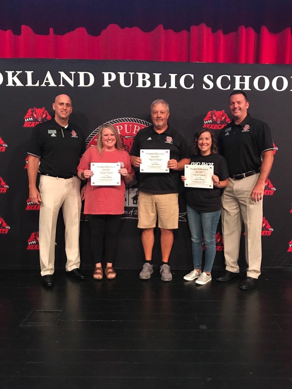 Top Cat Teacher Awards. Congratulations to Brooke Williams, Keith Davis, and Morgan Wilson.