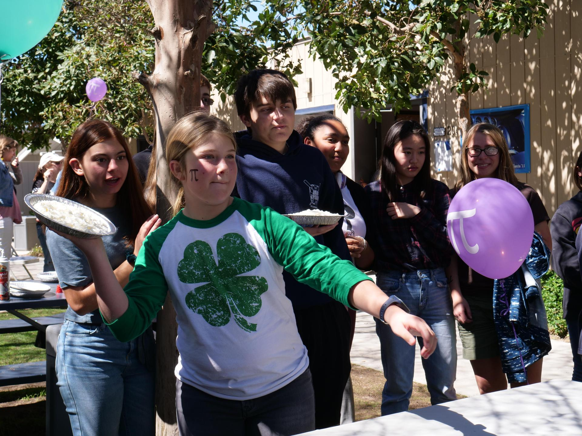 Pie toss activity for Pi Day Celebrations on March 14, 2019.