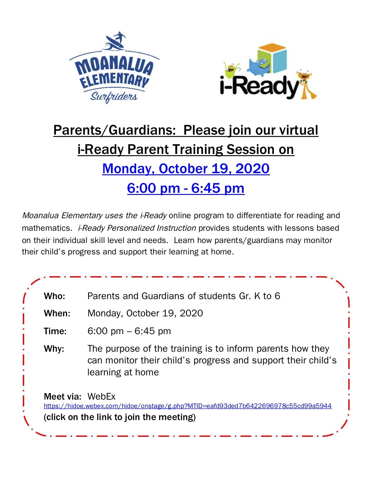 Virtual i-Ready Parent Training Session