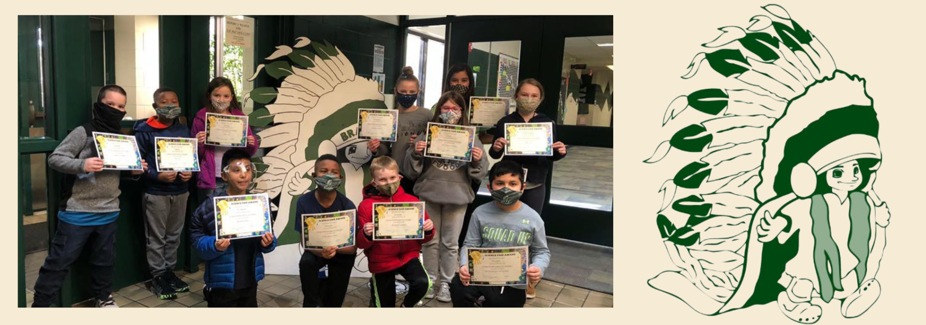 group of students in facemasks holding certificates beside the school logo