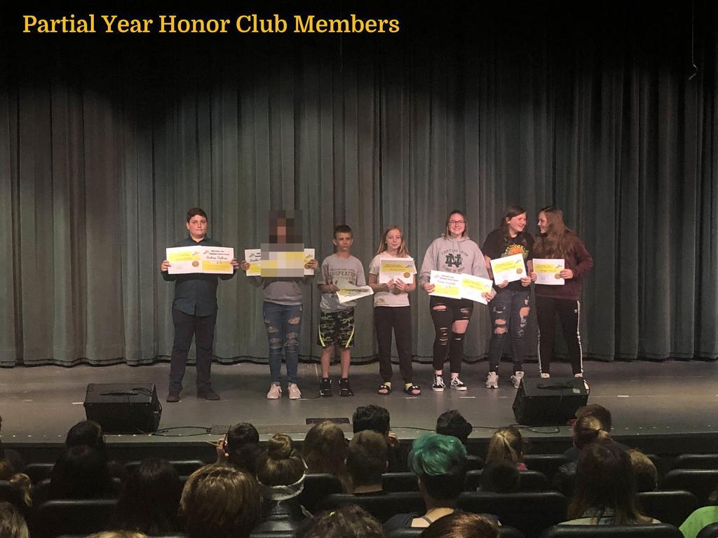 7th Grade Partial Year Honor Club Members