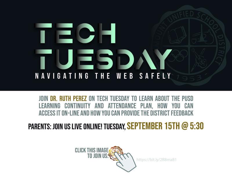 Attention Parents: Join us on Tuesday, September 15 at 5:30 for our live Tech Tuesday webinar!   /   Atención padres: ¡Únase a nosotros el martes 15 de septiembre a las 5:30 para nuestro seminario web en vivo Tech Tuesday! Featured Photo
