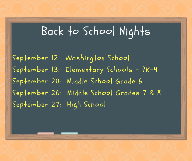 Back to school night dates graphic