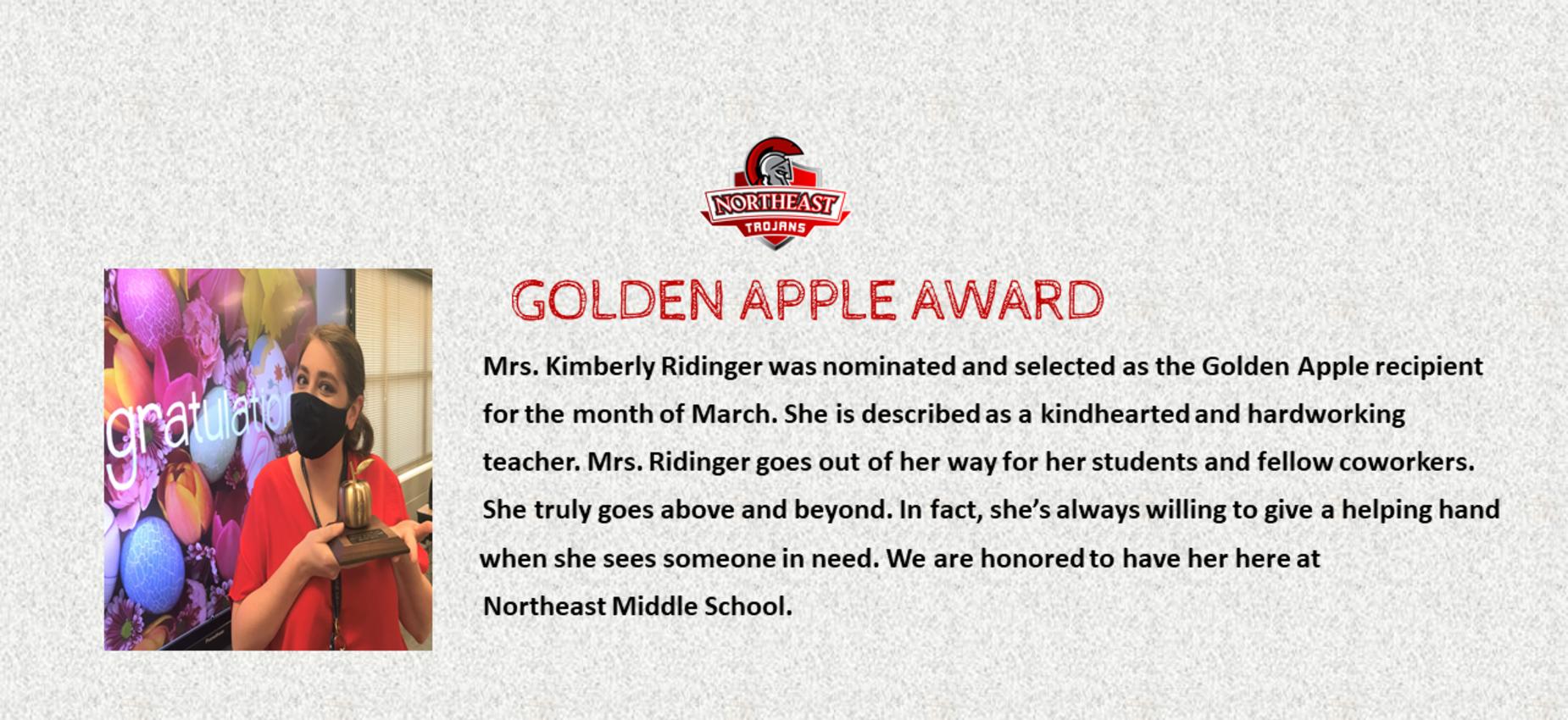 NEMS Golden Apple Award Winner Mrs. Kimberly Ridinger