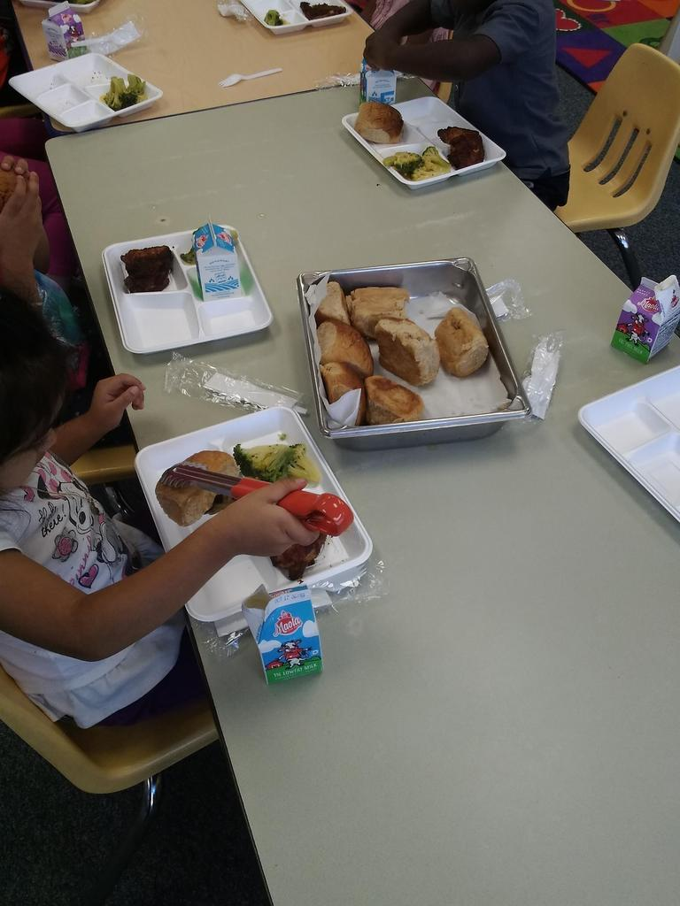 Pre-K students eating lunch in their classroom