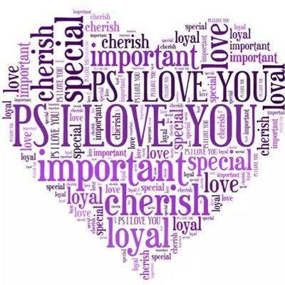 heart made up of purple words all related to the idea of love