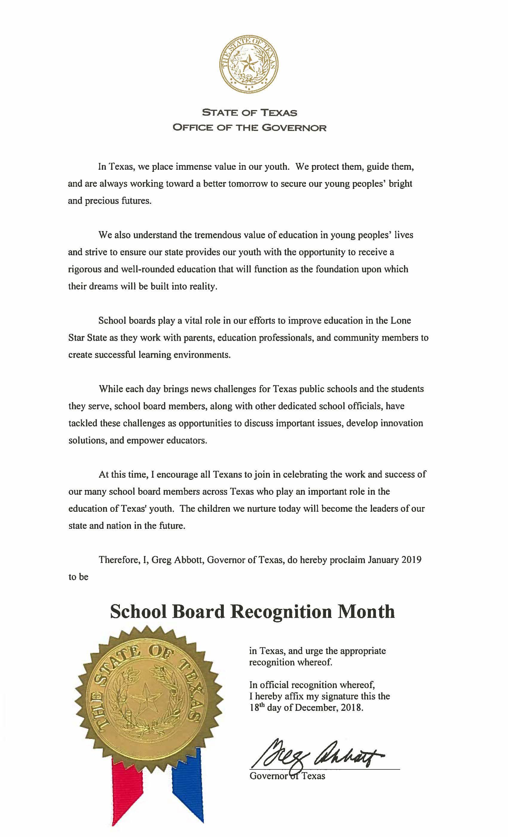 State of Texas Board Recognition