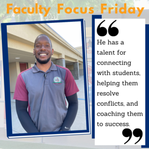 Mr. Brooks smiling with the Faculty Focus Friday boarder around his picture.