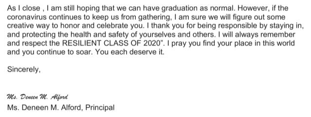 Senior Letter 2020