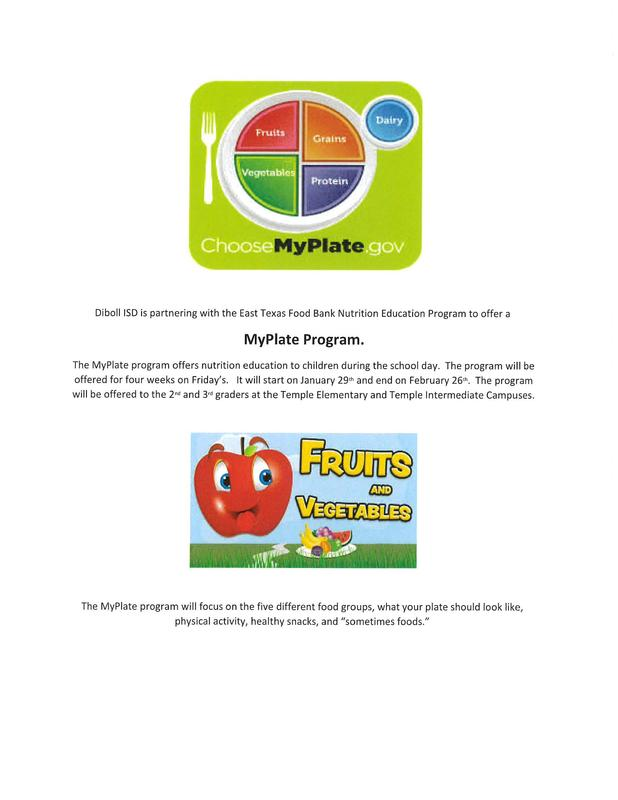 Diboll ISD is partnering with the East Texas Food Bank to offer a My Plate Program. Thumbnail Image