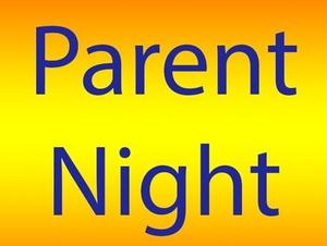 Yellow background with Parent night in blue
