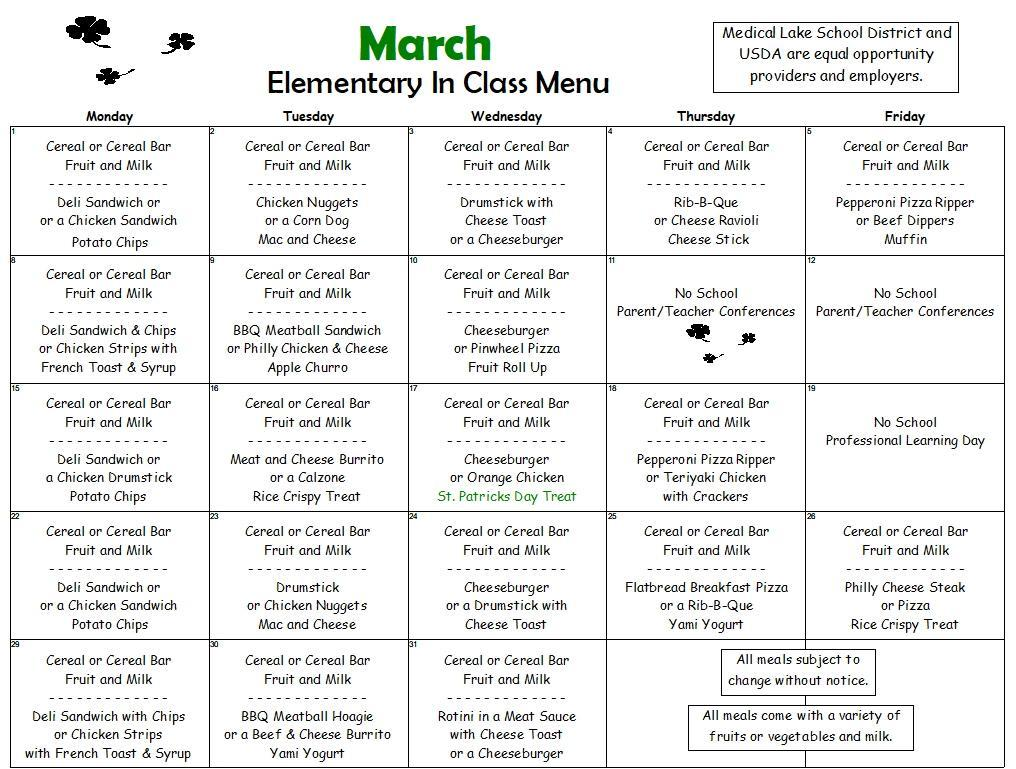 March In Class Menu for Elementary