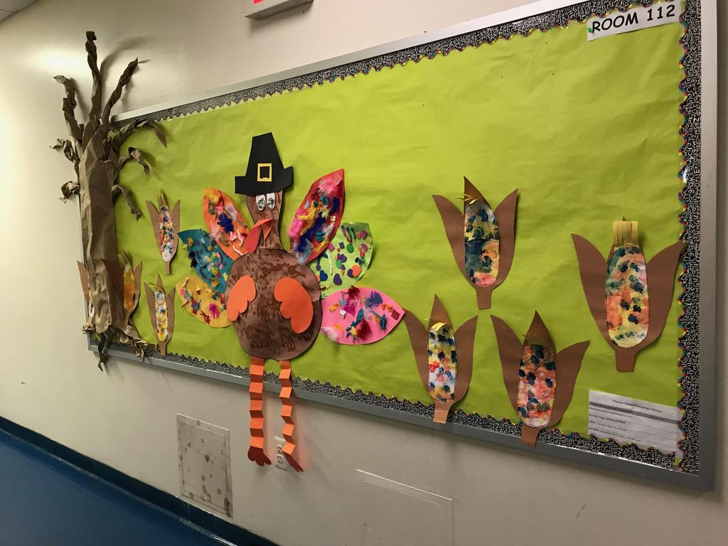 Thanksgiving day turkey with corn bulletin board display