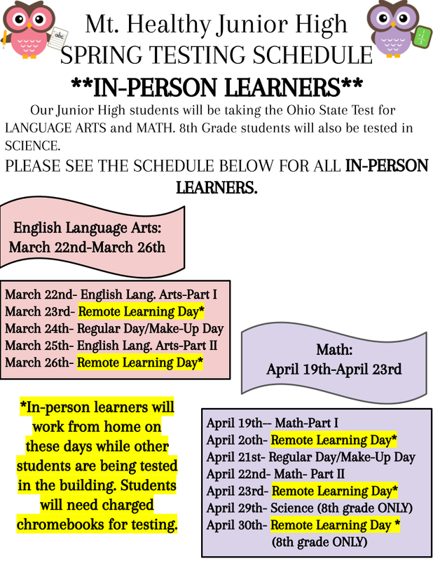 inperson testing schedule